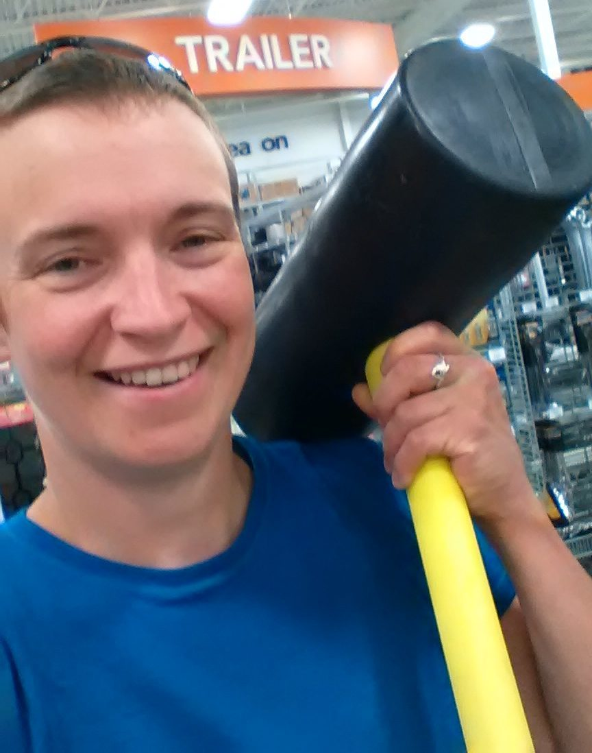 tina with big rubber mallet at princess auto